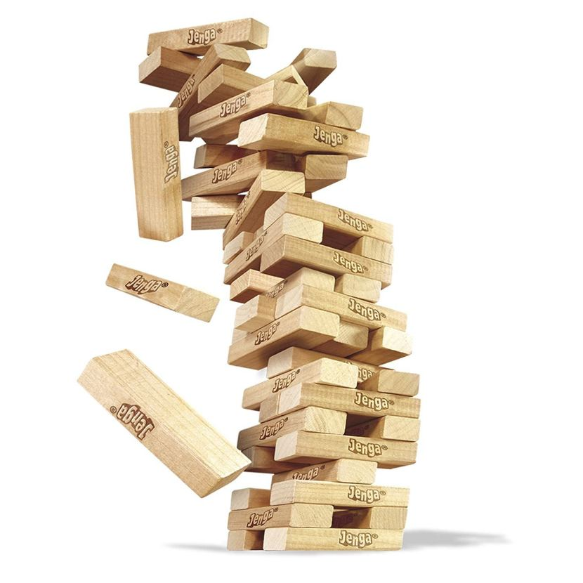 Jenga blocks tumbling down