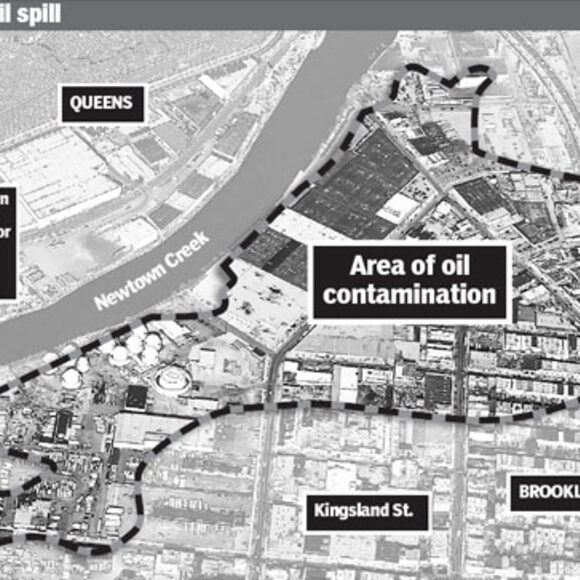 Map of the Exxon Mobil oil spill in Greenpoint, Brooklyn, one of the largest oil spills ever recorded in the United States.