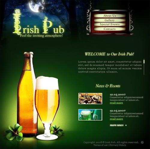 irish pub website design