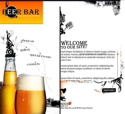 beer bar website design