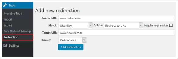 redirection plugin wordpress dashboard