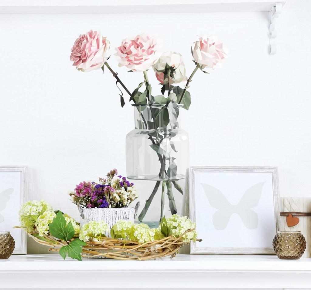 vinilos de flores origami