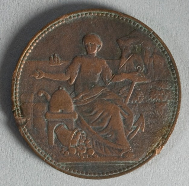 Reverse of token issued by J. Hurley & Co., Wanganui, minted by W.G. Todman & Co. of London. Te Papa (NU002500)
