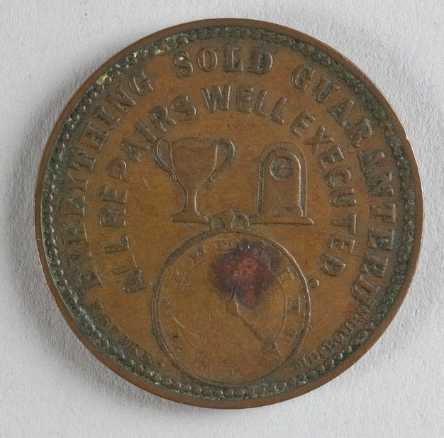 Reverse of token issued by W. Petersen of Christchurch. Minted in Melbourne by Thomas Stokes. Gift of Miss A Phippen, 1931. CC BY-NC-ND licence. Te Papa (NU002900)