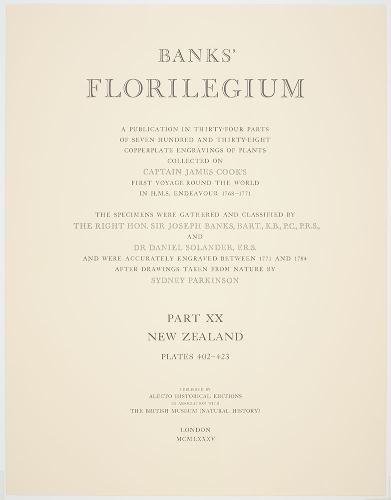 Banks Florilegium Part XX : Plates 402-423 : Title page