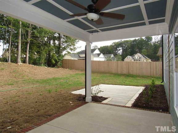 covered patio of 46 oak hollow court in clayton.