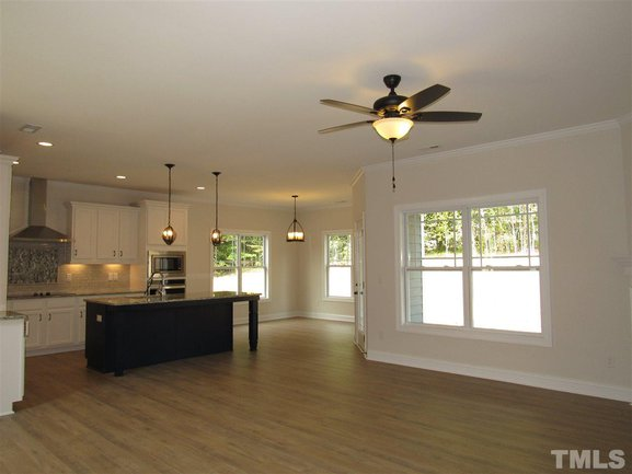 kitchen and open family room of 46 oak hollow court in clayton.