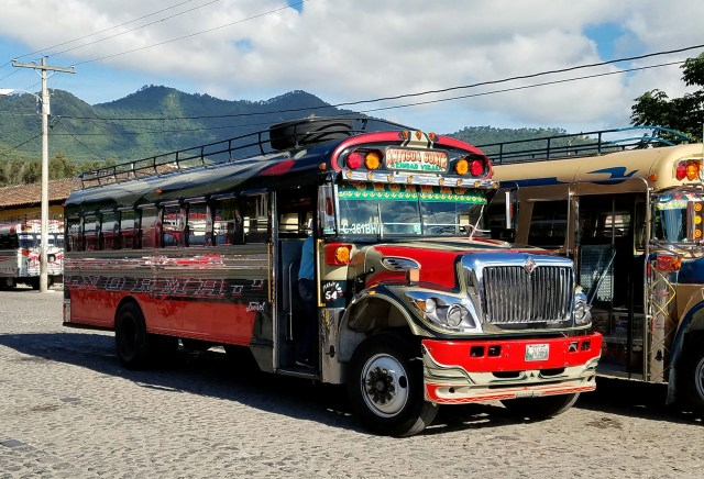 "Guatemalan ""chicken bus"" in Antigua. Photo: Karl-Henry Martinsson"
