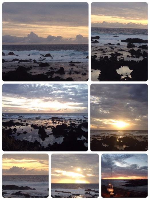 絶景、イースター島の夕日。