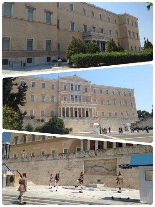 アテネの国会議事堂と無名戦士の墓。