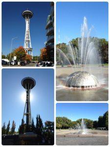 スペースニードル(左)とシアトルセンターの中央にある噴水(右)。 ■スペースニードル 1962年の万国博覧会の時に建築。高さ184メートル、幅は最も広いところで42メートル、総重量9,550トン。時速320キロメートルの風速と、マグニチュード9.1クラスの地震に耐えることができるように設計されているそうです。 ■シアトルセンター 同じく、1962年の万国博覧会の時に作られた公園。