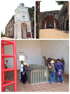 セントポール教会は、ポルトガルの指揮により1521年に建築されました。 下の写真は、教科書にも出てきたフランシスコ・ザビエルがマラッカで殉教した後、インドのゴアに運ばれるまでの9ヶ月間、遺体が安置されていた場所です。
