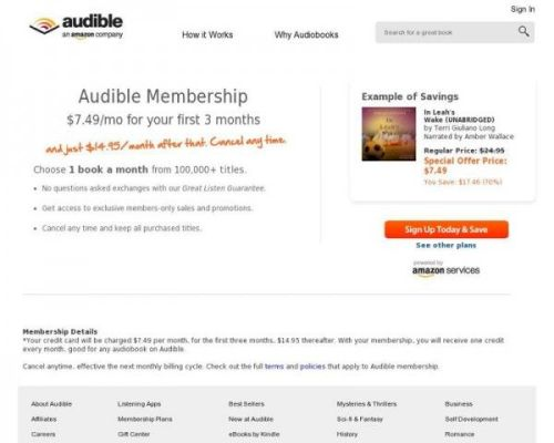 Audible Discounted Book Offer ($7.49)