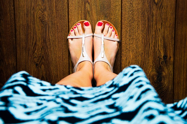 sandals, feet, red nails