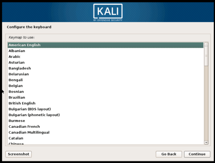 select keyboard layout to install Kali Linux