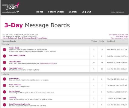 Komen_3Day_participant center_message boards