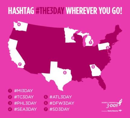 susan g. komen 3-day breast cancer walk blog hashtag location specific