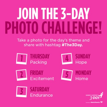 susan g. komen 3-day breast cancer 60 miles walk blog instagram photo challenges