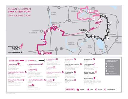 SUsan g. komen 3-Day breast cancer walk blog 60 miles map twin cities