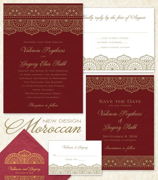 50pcs Personalized Moroccan Pink Rose Laser Cut Elegant Wedding Invitation Modern Monogram