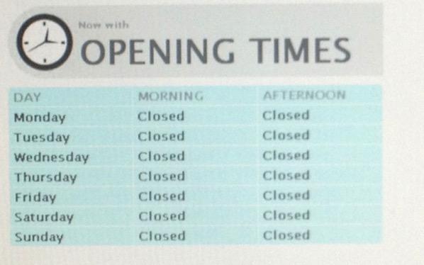 We never open