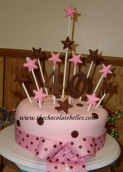 Pink Amp Brown Fondant 40th Birthday Cake