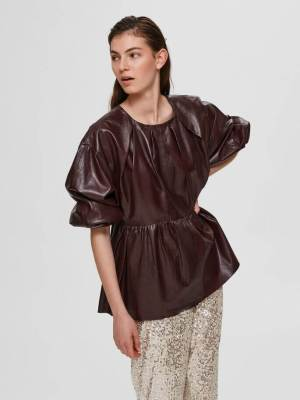 SELECTED FEMME LAMB LEATHER BLOUSE