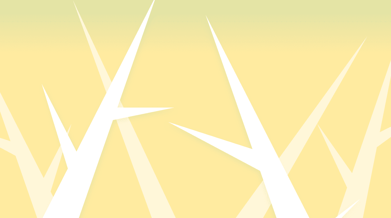 a pale yellow background with white, stylized trees growing from the bottom