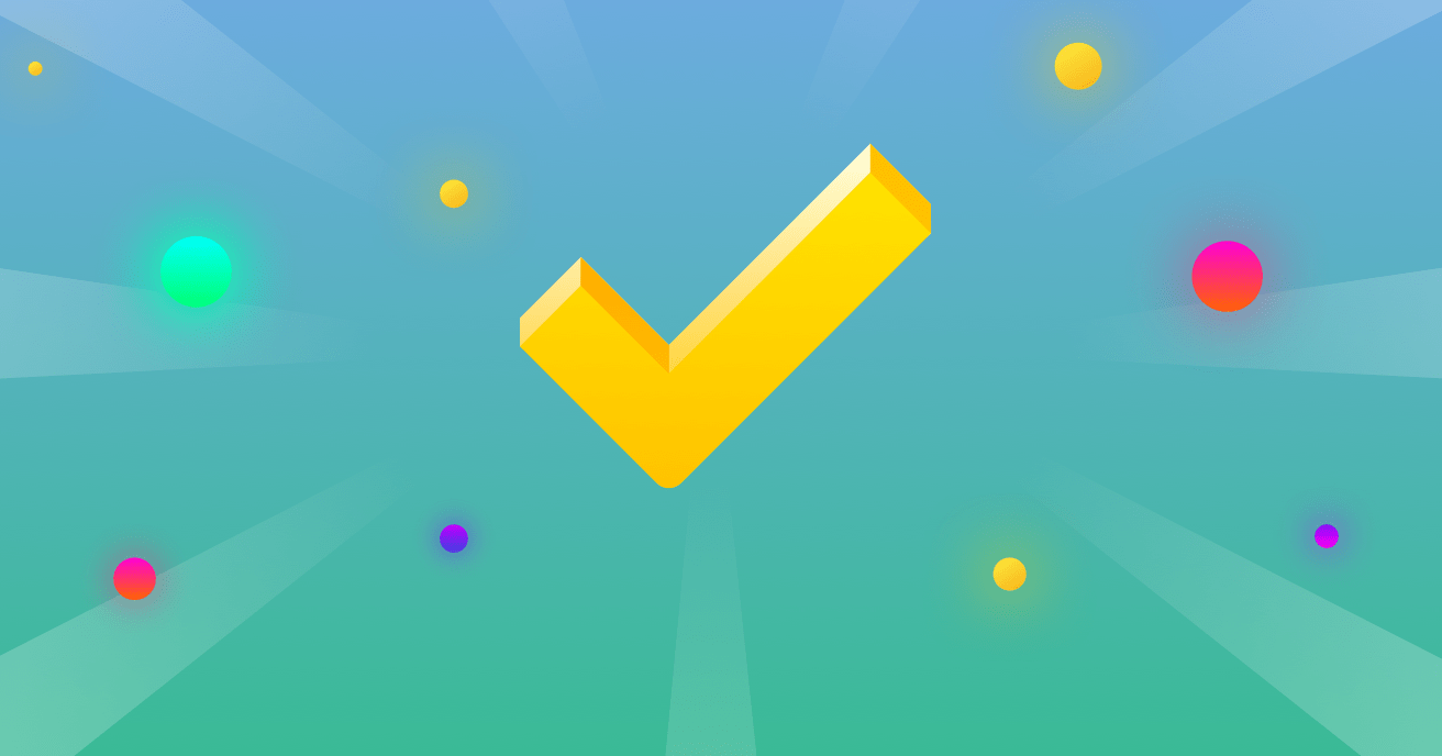 A triumphant check mark against a colorful background.