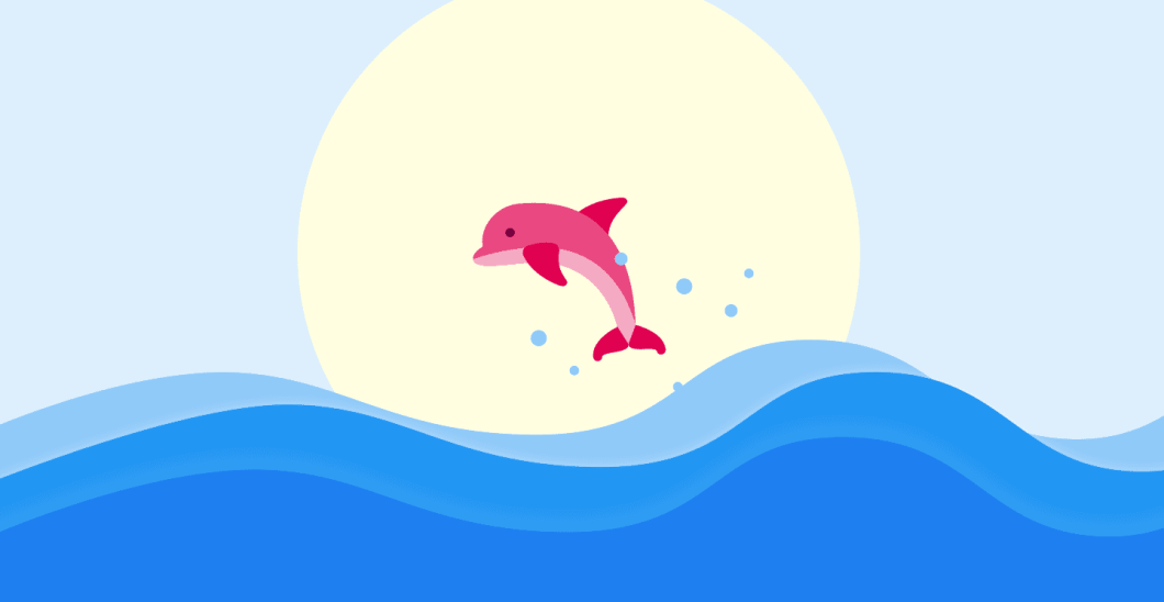 A dolphin leaps from the ocean waves against a backdrop of the sun.