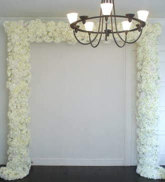floral archway, flower wall, floral backdrop, wedding flower wall, white wedding, shanghai wedding planner, buy flower wall, rent flower wall