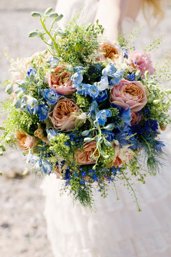 Blue, Peach and Coral Flower Wall
