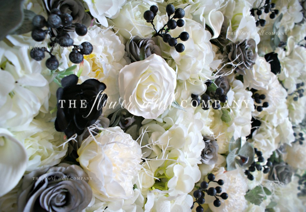 grey black silver cream flower wall floral backdrop cheap flower wall hire rent buy london flower wall company melbourne sydney new york