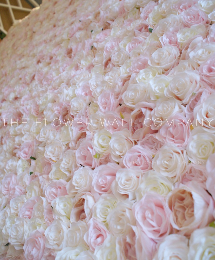 Pink Cream Blush Value Flower Wall Image 1. Cheap pink floral backdrop floral wall
