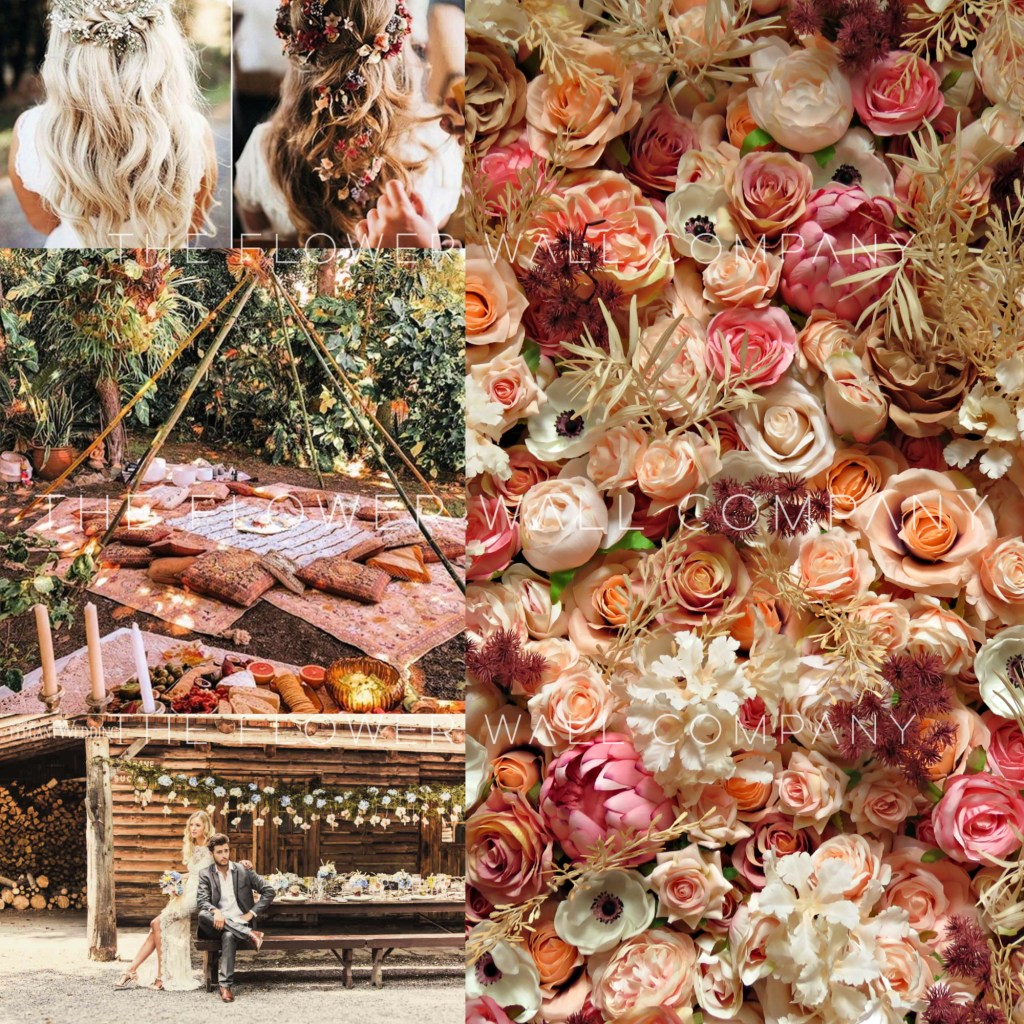 boho chic wedding collage