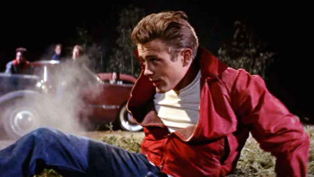 A scene of James Dean in the movie Rebel Without A Cause.