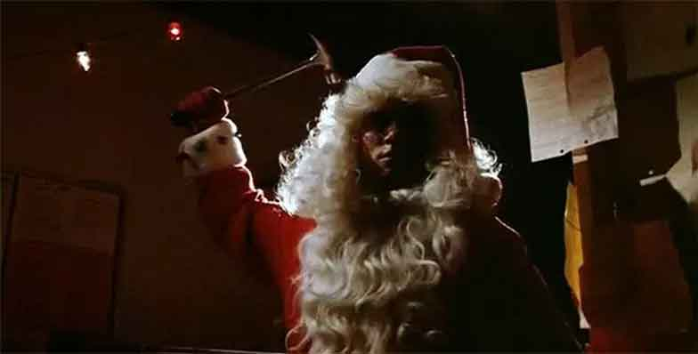 Still scene of murder from the movie Silent Night, Deadly Night.
