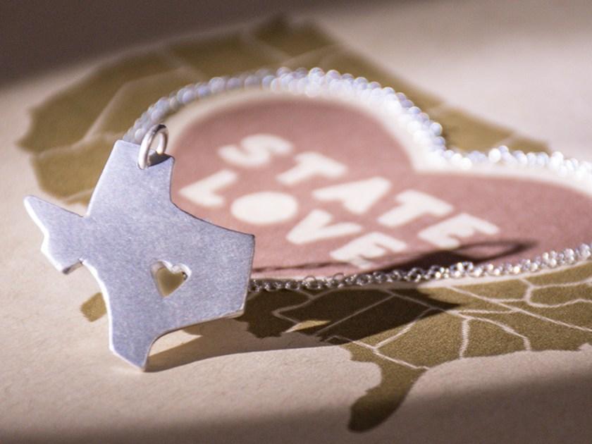 Precious Metal Prints state love pendant necklace, Texas