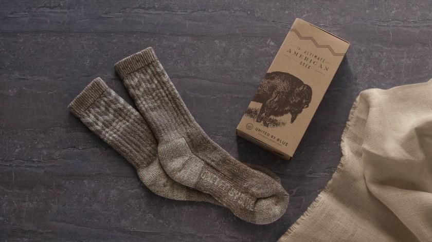 United By Blue bison down & merino wool socks