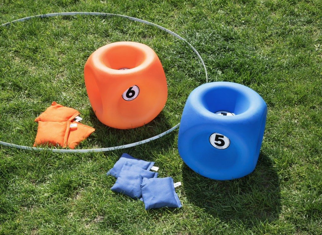 Orange & Blue Cubockle set sits on a lawn
