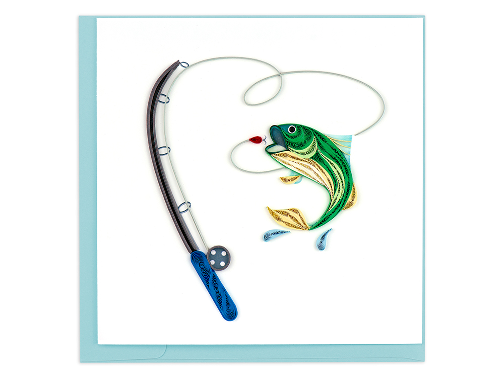 A handcrafted quilled card featuring a fish and fishing rod from Quilling Card