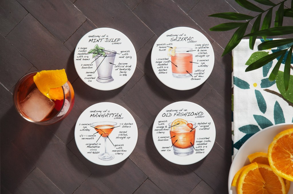 The anatomy of several cocktails can be seen illustrated on a set of sandstone coasters from Dishique