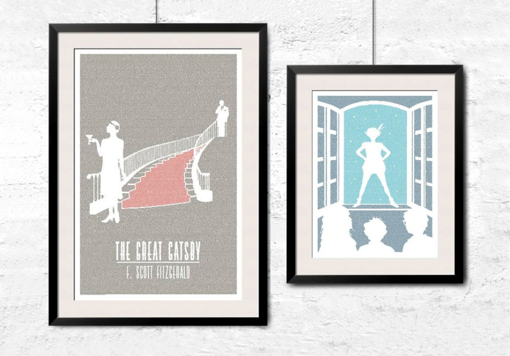 Wall art of The Great Gatsby & Peter Pan from Litographs can be seen hanging on a wall