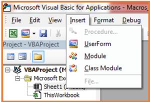 Screenshot of how to insert a module