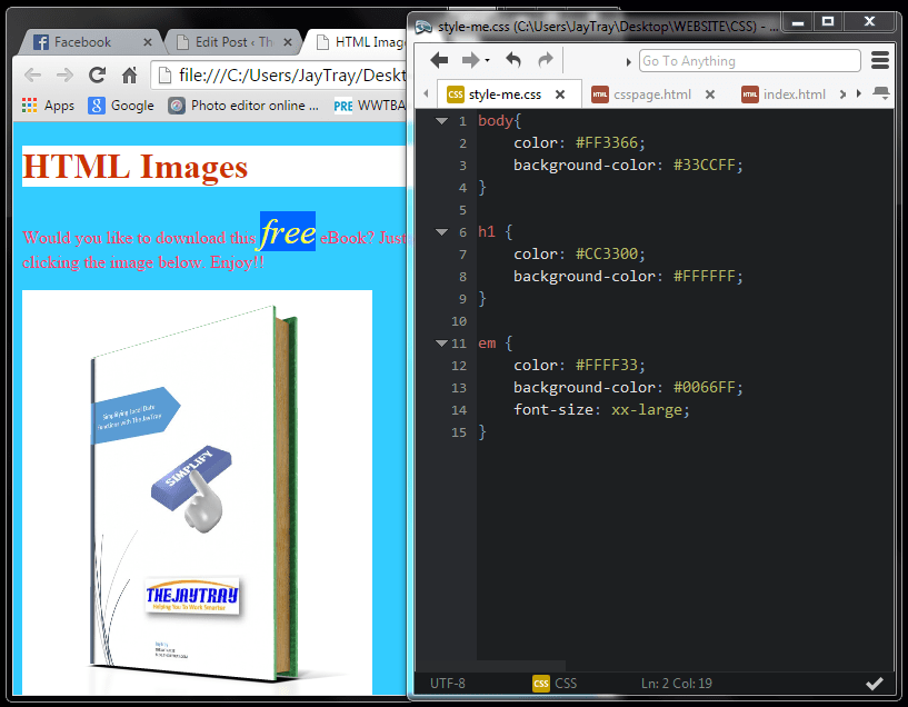 IMAGE SHOWING AMENDED CSS CODE
