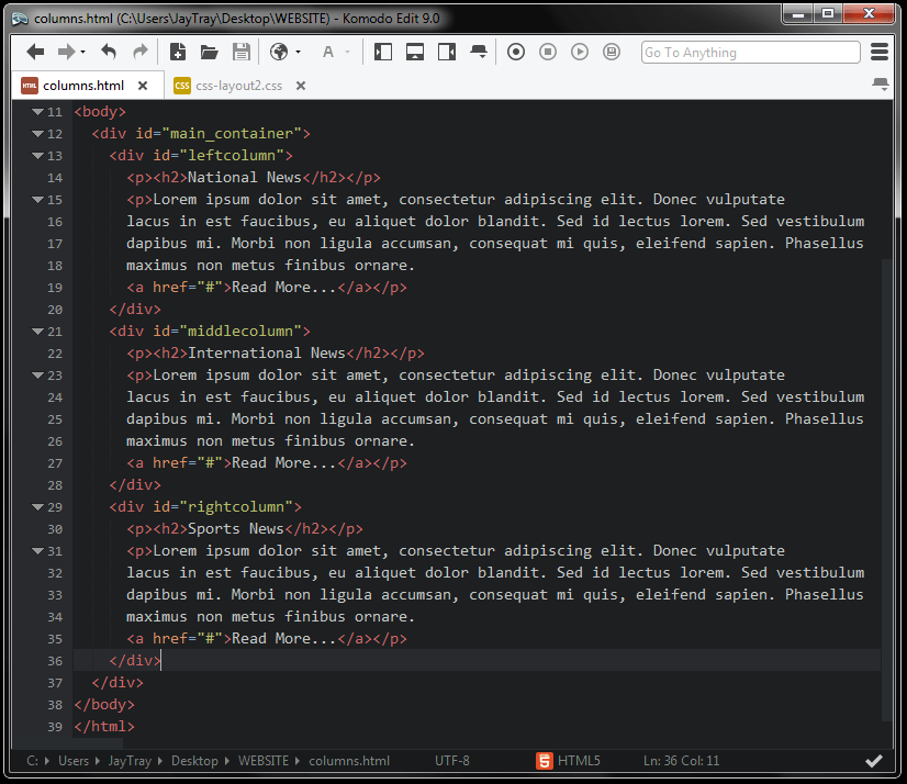 screenshot of html code for layout with columns