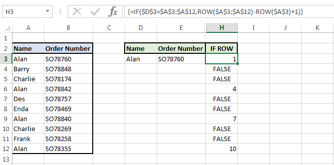 Image showing the IF ROW and array together