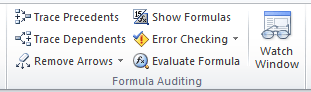 image of the formula auditing section in excel