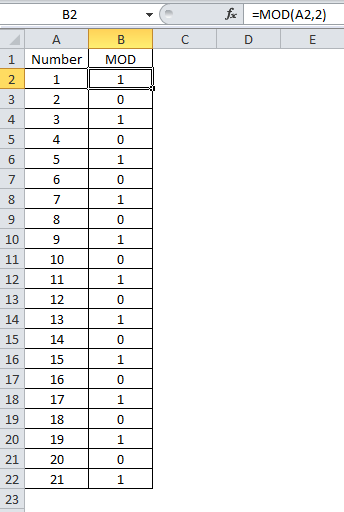 Image showing odd and even numbers from MOD function