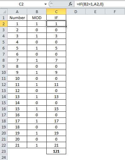 Image showing basis of formula for sum odd or even numbers in excel